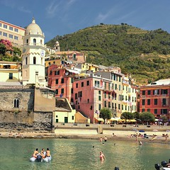 Delightful beach of picturesque colorful Vernazza (Bn) Tags: vernazza italy cinqueterre unesco heritage harbor italianriviera fishing village picturesque colorful charming viadellamore vineyards cactus olives hiking trail lovers walk viewpoint church ruined castle mediterranean sea holiday travel tourist beach sand blue water boats colors nocars margherita dantiochia rockycoastline santa pamtree summer opuntia fruit liguria swimming sunbathing sun sunbather 50faves topf50