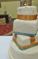 Gold & Teal Wedding Cake