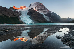 Mount Robson Reflection (Don Geyer) Tags: autumn sunset wild mountain lake canada mountains fall nature water ecology landscape outside outdoors evening landscapes scenery natural outdoor ambientlight britishcolumbia radiance lakes scenic peak falls autumns glacier glaciers ambient northamerica backcountry environment rockymountains wilderness peaks habitat radiant scenics indiansummer ecosystem environments canadianrockies wilds habitats ecosystems naturalenvironment uncultivated naturalenvironments robsonprovincialpark indiansummers eveninglightonmountrobsonaboveberglake