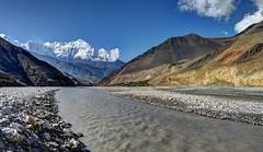 Kali Gandaki with Kagbeni and Nilgiri (Carsten Nebel www.MyHimalayas.com) Tags: nepal mountain trekking nilgiri kagbeni 2011 uppermustang