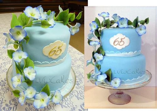65th Wedding Anniversary Cake With Climbing Morning Glory Flowers