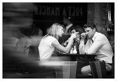 one-way conversation (White_V) Tags: city woman man london canon table cafe couple conversation drama 2012 whiteandblack