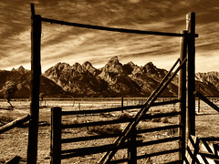 Sepia Gate to the West (Jeff Clow) Tags: ranch western grandtetonnationalpark theoldwest jacksonholewyoming tpslandscape tpsfs tpsrm