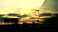 """Carretera"" (atempviatja) Tags: sunset camión reflejos nubes cielo luz atardecer carretera"