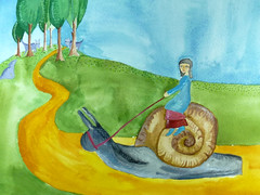 Wanda Rides The Snail Toward Wild Wolf Forest (Fauna Finds Flora) Tags: snail wolf wolves nature path rider ride forest hill trees sky illustration art painting gouache watercolor story narrative character fairytale folk folkloric faunafindsflora