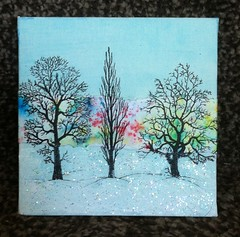 Winter Canvas (CraftyBev) Tags: brusho paints winter canvas trees gesso stickles snow stamping