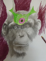 detail, work in progress (Brynhild E Winther) Tags: brynhildwinther teikning drawing ape animal animism hare fisk blyant