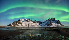 The Aurora Awakens (awhyu) Tags: vestrahorn stokksness iceland auroraborealis northernlights andrewyuphotography hofn