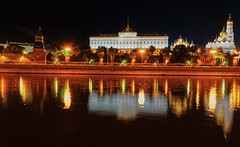 Kremlin. (rededia) Tags: city cityscape architecture building kremlin palace moscow river night reflection nikon russia