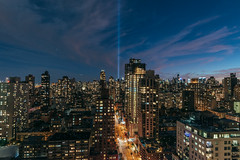 9/11 Tribute in Lights from Yorkville (rjdibella) Tags: night summer september11th worldtradecenter yorkville newyorkcity tributeinlights newyork uppereastside 2016 chryslerbuilding manhattan usa nyc rivereast wtc unitedstates us