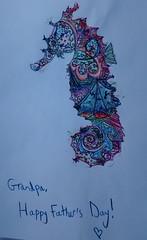 My daughter's card (rasputina2) Tags: sabine drawing seahorse grandfather card