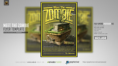 Meet The Zombie Flyer Template (prassiod) Tags: apocalypse club costume costumeparty creepy event evil halloween halloweenflyer halloweenparty haunted hauntedhouse holiday horror hunters nightclub october party poster prassiod scary show skeleton skull template thriller trickortreat zombie zombieattack