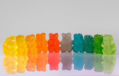 Gummy Bear Rainbow (KellarW) Tags: rainbow sweetshot gummybearrainbow gummybears gummyrainbow mirrored onwhite sweetspot flickrfriday simplyirresistible