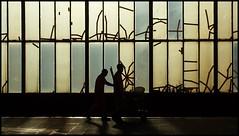 Duisburg - Central Station (abudulla.saheem) Tags: shadowgames schattenspiele silhouettes silhouetten morningsun morgensonne windows fenster windowframes fensterrahmen tape kebestreifen worker arbeiter centralstation hauptbahnhof duisburg rhineland rheinland nrw germany deutschland samsung galaxy s4 abudullasaheem