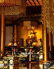 Golden interior with Buddha (DameBoudicca) Tags: tokyo tokio  japan nippon nihon  japn japon giappone shiba   zjji sanenzanzjji   buddhisttemple buddhisttempel templosbudistas templesbouddhistes  jdosh  yyoshs  tokugawa   daiden  temple tempel tempio templo buddhism buddhismus budismo bouddhisme buddhismo  golden gyllene dor dorato dorado   buddha buda bouddha
