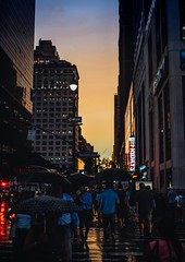 Sunset in NYC (typray) Tags: d810 nikon travel buildings tones lights streetphotography streets nyc newyork woman man city sunset evening people