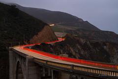Bixby Bridge - Big Sur (Stefan Mazzola) Tags: california longexposure usa northerncalifornia fog monterey twilight scenic bigsur carmel westcoast atlanticocean hwy1 bixbybridge lighttrail