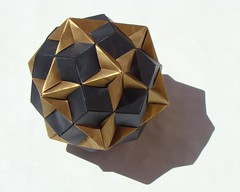 Compound of Dodecahedron and Great Dodecahedron (sin cynic) Tags: triangles compound triangle origami geometry math mathematics stellated pentagon dodecahedron polyhedra goldenratio modularorigami pentagons cordenons solidgeometry stellation stardream greatdodecahedron polyhedroncompound