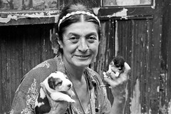 A woman selling the newborn puppies and kittens (Jamal's father) Tags: street monochrome cat puppy georgia blackwhite puppies kittens oldwoman tbilisi newbornkittens 60d newbornpuppies canoneos60d eos60d