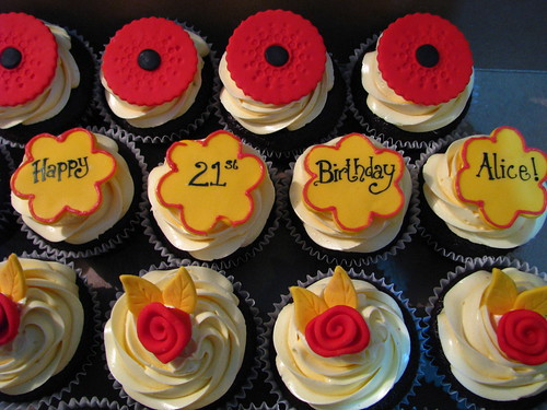 Red and Yellow stylish cupcakes