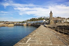 Nice and Calm (Canonpauls) Tags: uk houses sea sky wall pier cornwall harbour clocktower seawall institute tall railings towncouncil porthleven canonef24105mmf4lis bickfordsmith bickfordsmithinstitute