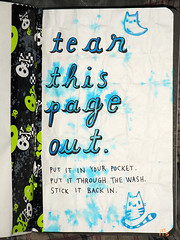 Tear This Page Out (Reattached) (rycz) Tags: blue cats cat book turquoise teal destruction ghost journal kitty blues doodle kitties ghosts doodles doodling journaling wtj kerismith wreckthisjournal wtej wteg