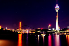 Rheinturm Dsseldorf at Night (_flowtation) Tags: longexposure river germany deutschland lights nikon nacht fernsehturm nightshots vodafone bluehour hafen dsseldorf rhine rhein duesseldorf tvtower lichter nighthawks televisiontower langzeitbelichtung rheinturm medienhafen blauestunde rheinriver mediaharbour rhinetower rheintower mediaharbor d5100 nikond5100
