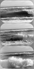 Retro Beach © (Blackcatatheart) Tags: ocean bw sun white black beach me water skyline sand surf horizon bubbles spray frame bubble bite tinted cliche