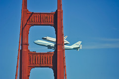 gate fly by two (pbo31) Tags: sanfrancisco california bridge blue color northerncalifornia nikon flight over september nasa 101 goldengatebridge shuttle bayarea boeing spaceshuttle piggyback presidio 747 flyover 2012 endeavor goldengatenationalrecreationarea finalflight d700