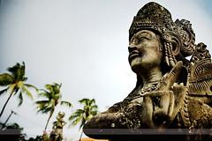 Statue at Klungkung Palace, Bali, Indonesia (Seven Seconds Before Sunrise) Tags: travel bali tree statue indonesia asia southeastasia palmtree klungkung semarapura klungkungpalace klungkungroyalpalace