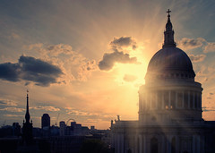 St Pauls (martinturner) Tags: street uk sunset england urban house london eye wheel st retail thames skyline architecture modern clouds skyscraper river bread photography nikon cityscape open cathedral markets silhouettes pauls spire cannon mansion ward burst development 2012 cheapside martinturner d700