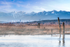 Mountains over Metrotown (Repp1) Tags: canada mountains fog landscape bc places surrey crescentbeach paysage brouillard metrotown montagnes