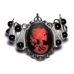 Steamgoth Bracelet - Red and Black Skeleton Lolita portrait Cameo - Silver Tone (Catherinette Rings Steampunk) Tags: silver skeleton skull wire punk gothic goth wrapped jewelry steam lolita bracelet cameo cybergoth steampunk steamteam steamgoth