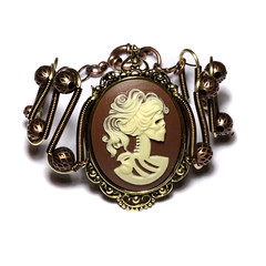 Steamgoth Bracelet - Ivory and Brown Skeleton Lolita portrait Cameo (Catherinette Rings Steampunk) Tags: silver skeleton skull wire punk gothic goth wrapped jewelry steam lolita bracelet cameo cybergoth steampunk steamteam steamgoth
