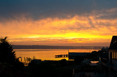 Good Morning Neighbor! [Explore] (tacoma290) Tags: sun house sunrise dark hotel golden bay boat nikon deck busy pacificnorthwest pugetsound tacoma pilings pnw commencementbay goodmorningneighbor explore03oct12