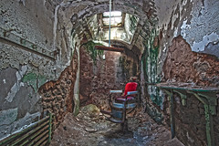 Barber Chair (Jackie Dessel) Tags: red canon eos chair decay urbandecay wideangle barber 5d esp dri hdr decayed hdri easternstatepenitentiary mkii 1635 rotsquad canonef1635mmf28iiusm 5dmkii canoneos5dmkii