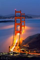 The Two Towers (Willie Huang Photo) Tags: sf sanfrancisco california city longexposure fog landscape cityscape marin scenic goldengatebridge goldengate bayarea marinheadlands alignment sffog