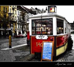 Café 11 (Miguel Angel SGR) Tags: street plaza travel light red color colour tourism colors square lights calle cafe rojo colorful europa europe prague tram praga viajes czechrepublic trips cafeteria cappuccino coffe turismo hdr touring tranvia colorido republicacheca mygearandme mygearandmepremium
