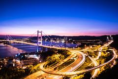 TsingMaBridge (Joey Kwok Photography) Tags: night magichour tsingma bridge tsingmabridge hongkong tsingyi lantauisland transportation orange blue purple sky color sea
