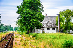 Beautiful and colorful small countryside railway station (mszucs) Tags: blue countryside gravel green nature railway road sky station train trees village beautiful colorful vintage small natural