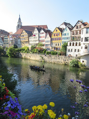 Old town and boat on the Neckar from Eberhardsbrücke, Tübingen, Germany (Paul McClure DC) Tags: tübingen germany deutschland badenwürttemberg aug2016 scenery river neckar historic architecture