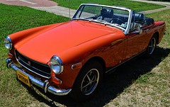 Sporty Car (pjpink) Tags: mg midget vintage vehicle automobile convertible fun sporty orange 50yrdrm car southcentral chasecity virginia june 2016 summer pjpink