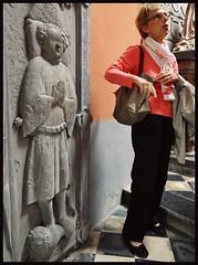 ca. 1406 - 'Batrice (Batrix) de Beau(s)sart (1419) and son Guillaume de Melun (+1406)', castle chapel, Chteau d'Antoing, Antoing, province of Hainaut, Belgium (roelipilami) Tags: 1406 beatrice beatrix de biausart beausart beaussart guillaume melun 1419 antoing chateau castle kasteel hainaut belgium dalle funraire grafbeeld grafplaat tomb effigy gisant sepulcro grabmal grabdenkmal grafmonument grave son mother tabard surcotte surcoat mail standard boy belt houppelande titling helm frog mouth helmet bull crest spur armor armour knight ritter rstung harnas armure sabaton wapenrok guide