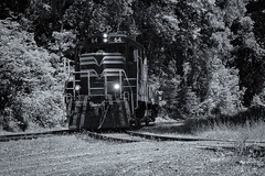 Engine 64 II (rschnaible) Tags: willits california skunk train northern west western us usa vehicle railroad locomotive bw black white photography monotone engine 64 transportation work