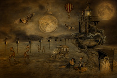 Romantic Break (brian_stoddart) Tags: surreal weird spooky clowns animals giraffes moon landscape