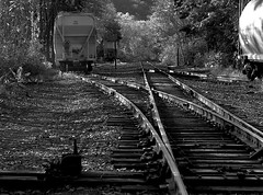 Mt. Carbon ~ Explore, thank you. (2bmolar) Tags: train tracks freightcars blackandwhitewednesday