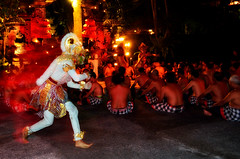 Running Hanoman in Kecak Dance (the_orange_girl) Tags: bali night indonesia temple dance movement lowlight nikon nightshot god traditional ape hanuman hindu malam ubud tari diety balinese kecak ramayana hanoman tradisional gerak bdpc d5100 movementcaptured puraanakagung