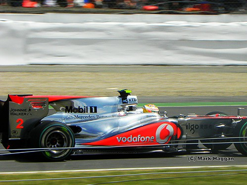Lewis Hamilton in his McLaren at the 2010 British Grand Prix