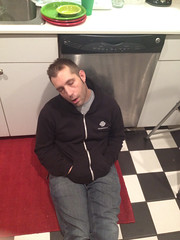 Yes. Asleep on the kitchen floor. (Daphne_Blue) Tags: sleeping thehusband narcoleptic inappropriately doingitwrong