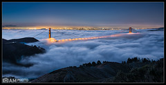 Summer's Blanket (Aaron M Photo) Tags: sanfrancisco california bridge sky panorama sun tower cars nature beautiful fog skyline night sunrise landscape lights golden nikon glow cityscape hawk marin foggy hills goldengatebridge le golde